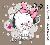 cute cartoon white kitten girl... | Shutterstock . vector #663439795