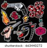 set of danger and violence... | Shutterstock .eps vector #663440272