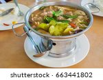 thai spicy soup with pork  tom... | Shutterstock . vector #663441802