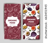 set of organic fruits cards.... | Shutterstock .eps vector #663451945