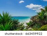 tulum beach in the caribbean... | Shutterstock . vector #663459922