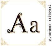 vector vintage font. letter a... | Shutterstock .eps vector #663464662