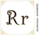 vector vintage font. letter r... | Shutterstock .eps vector #663468502