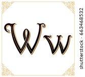 vector vintage font. letter and ... | Shutterstock .eps vector #663468532