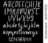 hand drawn dry brush font.... | Shutterstock .eps vector #663474352