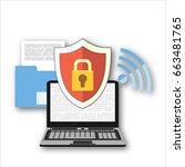 online security flat... | Shutterstock . vector #663481765