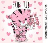 valentine card cute cartoon... | Shutterstock .eps vector #663490045