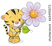 greeting card tiger with flower ... | Shutterstock .eps vector #663490072