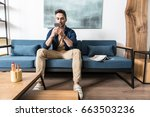 concentrated youthful bearded... | Shutterstock . vector #663503236