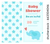 baby shower invitation with a... | Shutterstock .eps vector #663504046
