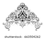 Vintage Baroque Victorian frame border corner monogram floral ornament leaf scroll engraved retro flower pattern decorative design tattoo black and white filigree calligraphic vector heraldic shield  | Shutterstock vector #663504262