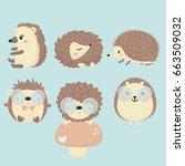 vector set of porcupine. | Shutterstock .eps vector #663509032