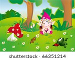 the girl on a wood glade   Shutterstock .eps vector #66351214