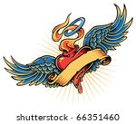 flaming heart tattoo... | Shutterstock .eps vector #66351460