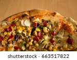 vegetarian pizza with various... | Shutterstock . vector #663517822
