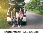 happy little girl  with asian... | Shutterstock . vector #663528988