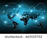 world map on a technological... | Shutterstock . vector #663535702