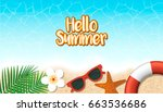 hello summer holiday background.... | Shutterstock .eps vector #663536686