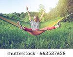 beautiful young woman hippy on... | Shutterstock . vector #663537628