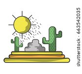 cactus with sun natural aventure | Shutterstock .eps vector #663542035