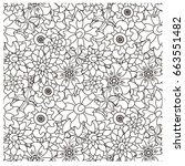 seamless floral monochrome... | Shutterstock .eps vector #663551482