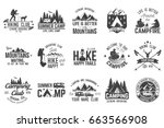 summer camp and hiking club... | Shutterstock .eps vector #663566908