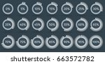 set of 3d circle percentage... | Shutterstock .eps vector #663572782