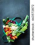 fresh colorful organic... | Shutterstock . vector #663572872