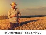 retro toned image of agronomist ... | Shutterstock . vector #663574492