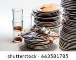 dirty dishes. | Shutterstock . vector #663581785