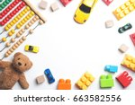kids toys frame on white... | Shutterstock . vector #663582556
