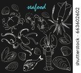vector chalk doodle seafood set.... | Shutterstock .eps vector #663602602