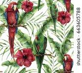 watercolor seamless pattern... | Shutterstock . vector #663605788