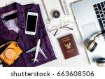 hipster travel blogger writer... | Shutterstock . vector #663608506