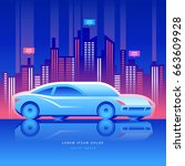 car of the future concept....   Shutterstock .eps vector #663609928