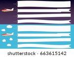 flying advertising banner.... | Shutterstock .eps vector #663615142