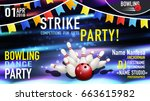 bowling party poster design.... | Shutterstock .eps vector #663615982