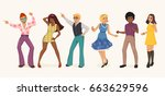dancing people in a retro disco.... | Shutterstock .eps vector #663629596