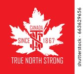 a canadian typographic design... | Shutterstock .eps vector #663629656