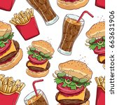 fast food seamless pattern with ... | Shutterstock .eps vector #663631906