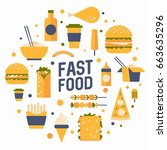set of flat icons to the food... | Shutterstock .eps vector #663635296