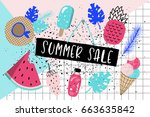 summer sale banner. tropical... | Shutterstock .eps vector #663635842