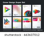 set of abstract business design ... | Shutterstock .eps vector #663637012