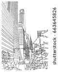 scene street illustration. hand ... | Shutterstock .eps vector #663645826