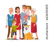 big family portrait  with... | Shutterstock .eps vector #663650305