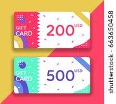 gift voucher template. flat... | Shutterstock .eps vector #663650458