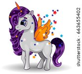 unicorn pony character with... | Shutterstock .eps vector #663655402