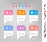 infographic template of six...   Shutterstock .eps vector #663657475