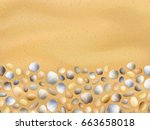 shells on the sand. stones and... | Shutterstock .eps vector #663658018