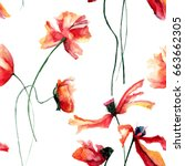seamless pattern with poppies...   Shutterstock . vector #663662305
